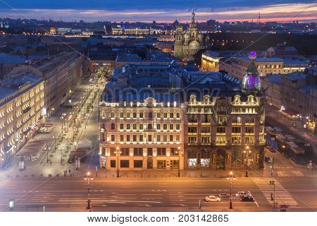 Singer building, evening Nevsky avenue, Spas-na-krovi cathedral in St. Petersburg, Russia at night
