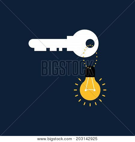 Creative idea concept light bulb key chain vector illustration
