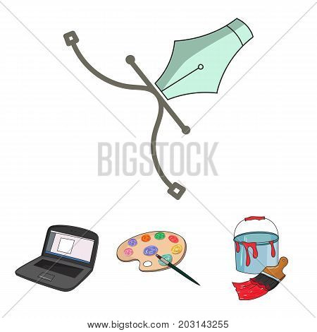 A palette with a brush, a bucket with a paint brush, a computer, a tool, a pen.Artist and drawing set collection icons in cartoon style vector symbol stock illustration .