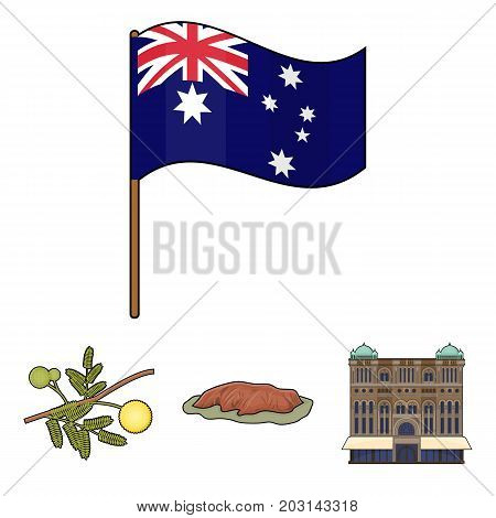 The palace of Queen Victoria, Mount Uluru, a flower of a mimosa, a national flag.Australia set collection icons in cartoon style vector symbol stock illustration .