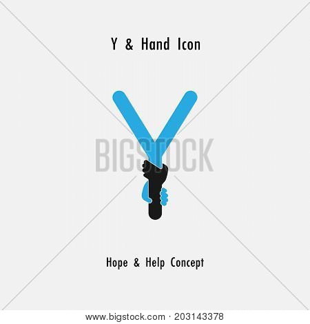 Creative Y- alphabet icon abstract and hands icon design vector template.Business offer,partnership,hope,support or help concept.Corporate business and industrial logotype symbol.Vector illustration