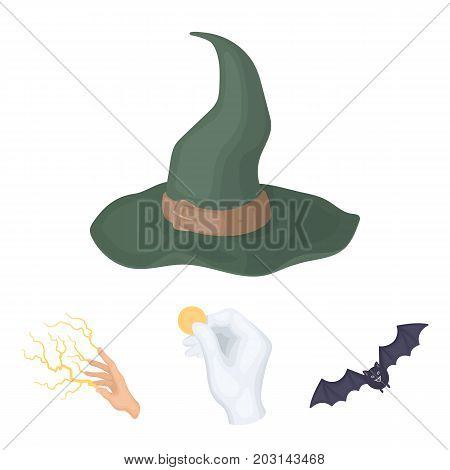 Focus with a coin, a bat, a mage's hat, a lightning-fast spell.Black and white magic set collection icons in cartoon style vector symbol stock illustration .
