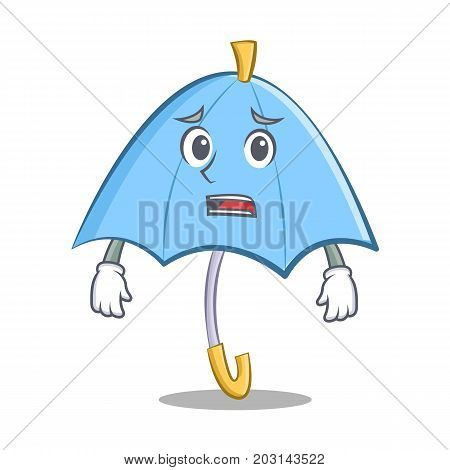 Afraid blue umbrella character cartoon vector illustration