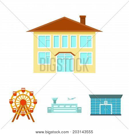 Airport, bank, residential building, ferris wheel.Building set collection icons in cartoon style vector symbol stock illustration .