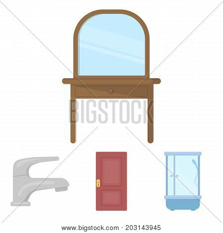 Door, shower cubicle, mirror with drawers, faucet.Furnitureset collection icons in cartoon style vector symbol stock illustration .