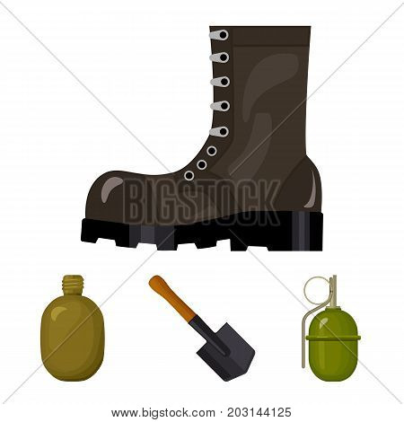 Sapper blade, hand grenade, army flask, soldier's boot. Military and army set collection icons in cartoon style vector symbol stock illustration .