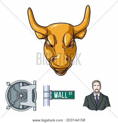 Wall Street, a businessman, a bank vault, a gold charging bull. Money and finance set collection icons in cartoon style vector symbol stock illustration web.