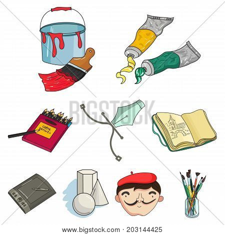 Artist and drawing set icons in cartoon design. Big collection of artist and drawing vector symbol stock illustration