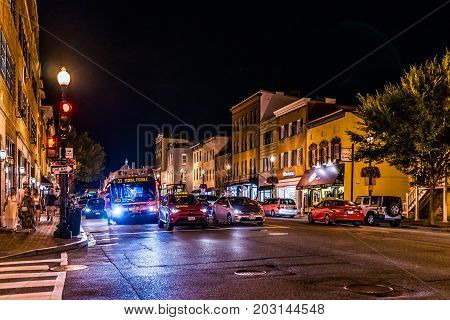 Washington Dc, Usa - August 4, 2017: Street And Shops In Georgetown Neighborhood With Traffic At Nig