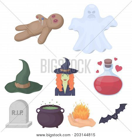 Black and white magic set icons in cartoon style. Big collection of black and white magic vector symbol stock