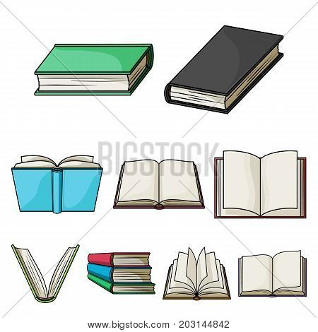 A set of pictures with books. Books, notebooks, studies. Books icon in set collection on cartoon style vector symbol stock web illustration.