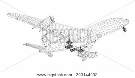 Airplane in wire-frame style. EPS 10 vector format. Vector rendering of 3d