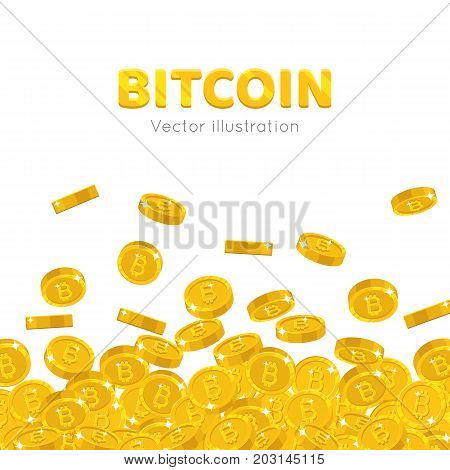 Falling gold bitcoins cartoon frame. A rain of the flying gold of bitcoins in the form of a frame in a cartoon style. Falling gold pieces in the form of vector illustrations