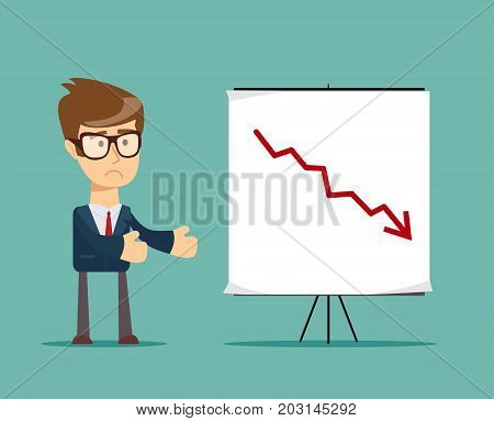 Young manager presenting whiteboard to his colleagues about financial risk. Stock flat vector illustration.