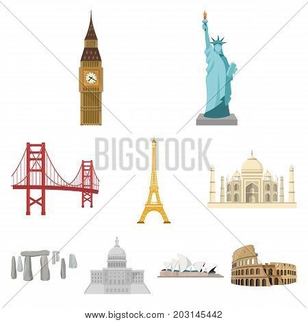 Sights of the countries of the world. Famous buildings and monuments of different countries and cities. Countries icon in set collection on cartoon style vector symbol stock web illustration.