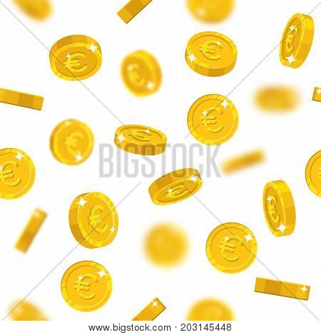 Flying gold euro seamless pattern. Background of flying gold euro as a pattern for designers and illustrators. Cover of floating gold pieces in the form of vector illustration