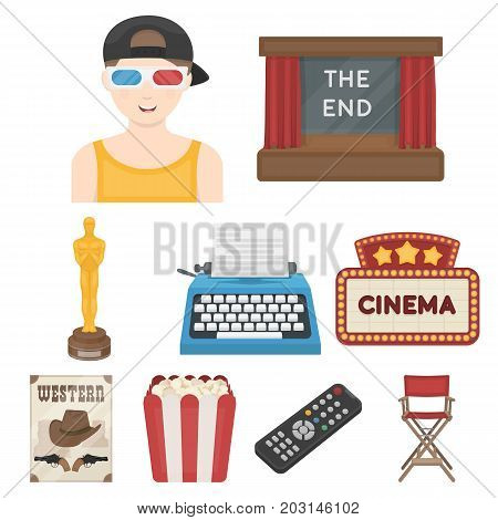 Films and cinema set icons in cartoon style. Big collection of films and cinema vector symbol stock