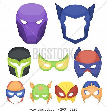 Superhero mask set icons in cartoon style. Big collection of superhero mask vector symbol stock