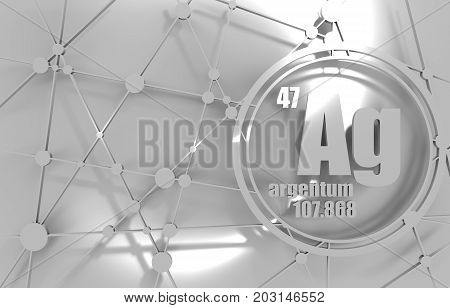 silver chemical element. Sign with atomic number and atomic weight. Chemical element of periodic table. Molecule And Communication Background. Connected lines with dots. 3D rendering.