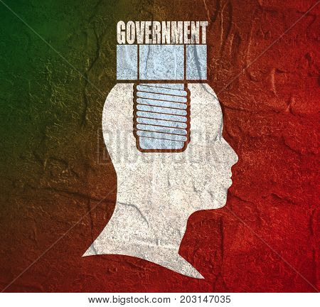 Person with text government flat icon. Rules and regulations. Terms and conditions icon. Screw in the head of a person. Grunge distress texture.