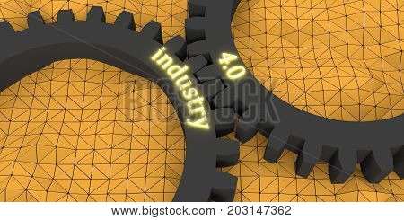 Industry four point zero illuminated text on the mechanism of gears. Communication concept in industrial design. Modern brochure design template. Polygonal shapes mosaic background. 3D rendering