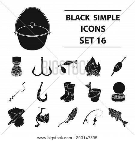 Fishing set icons in black design. Big collection of fishing vector symbol stock illustration