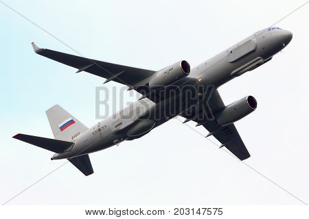 Zhukovsky, Moscow Region, Russia - October 19, 2013: Tupolev Tu-204R 64511 reconnaissance aircraft of Russian air force performing test flight at Zhukovsky.