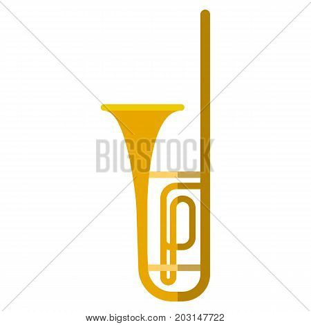 Trombone musical instrument flat icon, vector sign, colorful pictogram isolated on white. Symbol, logo illustration. Flat style design