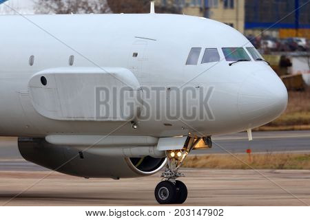 Zhukovsky, Moscow Region, Russia - October 19, 2013: Tupolev Tu-204R 64511 reconnaissance aircraft of russian air force taxiing at Zhukovsky.