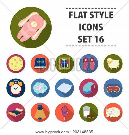Sleep and rest set icons in flat design. Big collection of sleep and rest vector symbol stock illustration