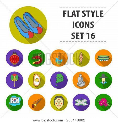 South Korea set icons in flat style. Big collection South Korea vector symbol stock