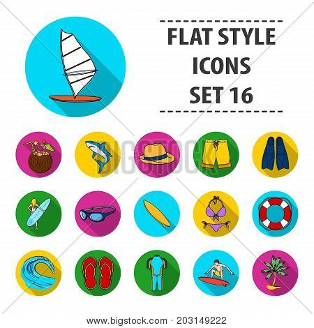 Surfing set icons in flat design. Big collection of surfing vector symbol stock illustration