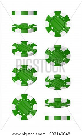 Green chips views cartoon style isolated. The blue chips are at different angles around its axis for designers and illustrators. Rotation of bets in the form of a vector illustration