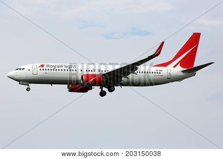 Sheremetyevo, Moscow Region, Russia - August 14, 2015: Boeing 737-808 VQ-BRF of Royal Flight airlines landing at Sheremetyevo international airport.
