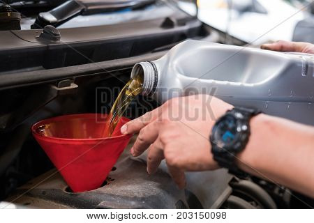 Mechanic Pouring Oil To Vehicle Engine. Serviceman Changing Motor Oil In Automobile Repair Service.