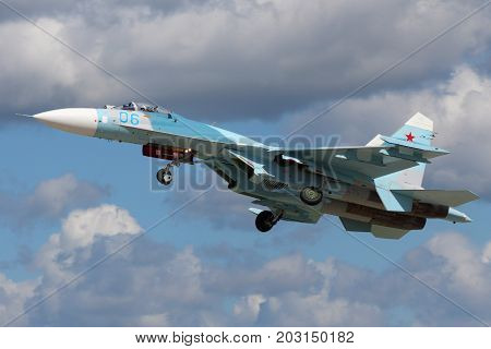 Kubinka, Moscow Region, Russia - June 9, 2015: Sukhoi SU-27 RF-RF-95612 of russian air force taking off at Kubinka air force base during Army-2015 forum