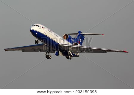 Domodedovo, Moscow Region, Russia - June 14, 2012: Yakovlev Yak-42 RA-42343 of Izhavia taking off at Domodedovo international airport.