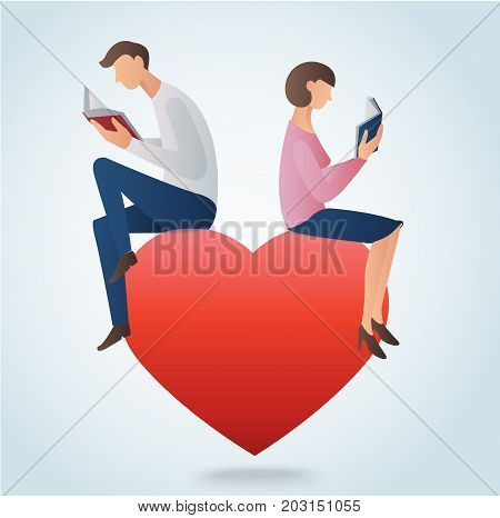 man and woman reading books and sitting on big red heart, love reading concept