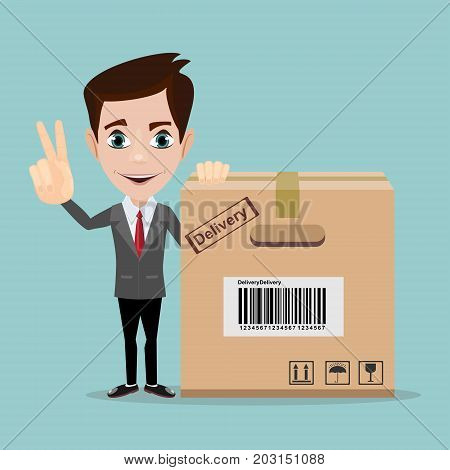 delivery service man with box vector illustration isolated on white background. smiling cartoon businessman with cardboard box.