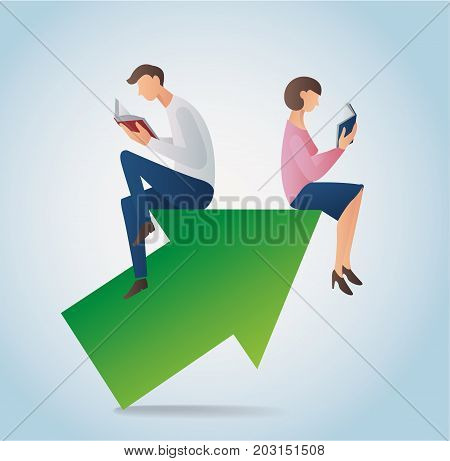 man and woman reading book sitting on the arrow icon vector, concept of education illustration