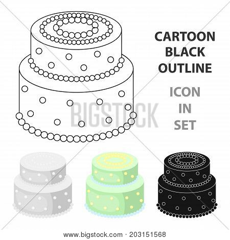 Green cake with yellow dots icon in cartoon design isolated on white background. Cakes symbol stock vector illustration.