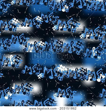 Music seamless pattern. Grunge background. Vector illustration