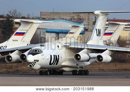 Zhukovsky, Moscow Region, Russia - November 20, 2013: Ilyushin IL-76T of United Nations RA-76457 taxiing at Zhukovsky.