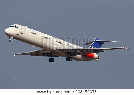 Sheremetyevo, Moscow Region, Russia - October 26, 2013: Scandinavian Airlines System McDonnell Douglas MD-82 LN-RMM landing at Sheremetyevo international airport.