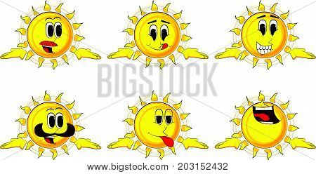 Cartoon sun shrugs shoulders expressing don't know gesture. Collection with happy faces. Expressions vector set.