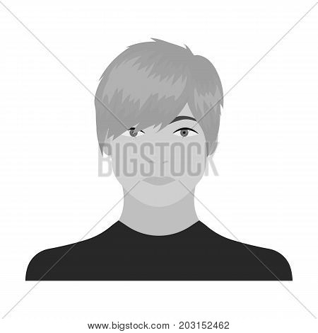 The face of a young guy. Face and appearance single icon in monochrome style vector symbol stock illustration .