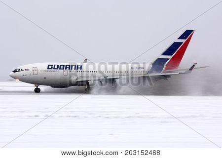 Vnukovo, Moscow Region, Russia - January 5, 2015: Cubana airlines Ilyushin IL-96-300 CU-T1250 landing at Vnukovo international airport.