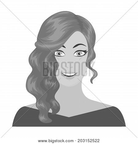 The face of a woman with a hairdo. Face and appearance single icon in monochrome style vector symbol stock illustration .