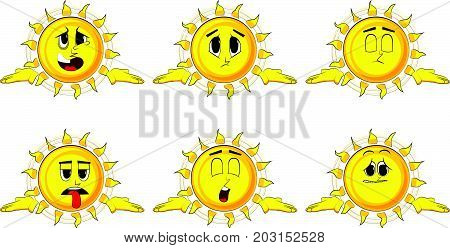 Cartoon sun shrugs shoulders expressing don't know gesture. Collection with sad faces. Expressions vector set.