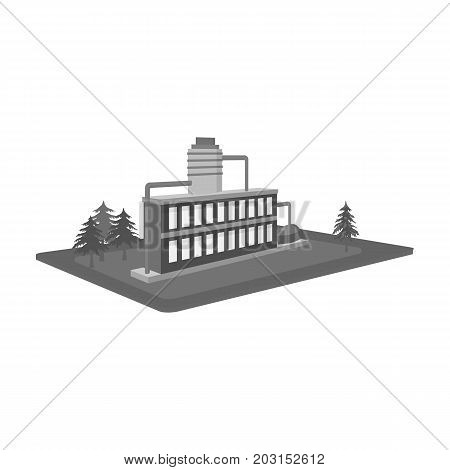 Processing factory. Factory and industry single icon in monochrome style isometric vector symbol stock illustration .